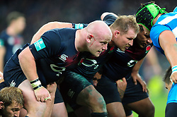 Dan Cole of England prepares to scrummage against his opposite number - Mandatory byline: Patrick Khachfe/JMP - 07966 386802 - 26/11/2016 - RUGBY UNION - Twickenham Stadium - London, England - England v Argentina - Old Mutual Wealth Series.