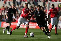 Photo: Pete Lorence.<br />Nottingham Forest v Scunthorpe United. Coca Cola League 1. 07/10/2006.<br />Scunthorpe's Mark Sparrow (R) fends off James Perch.