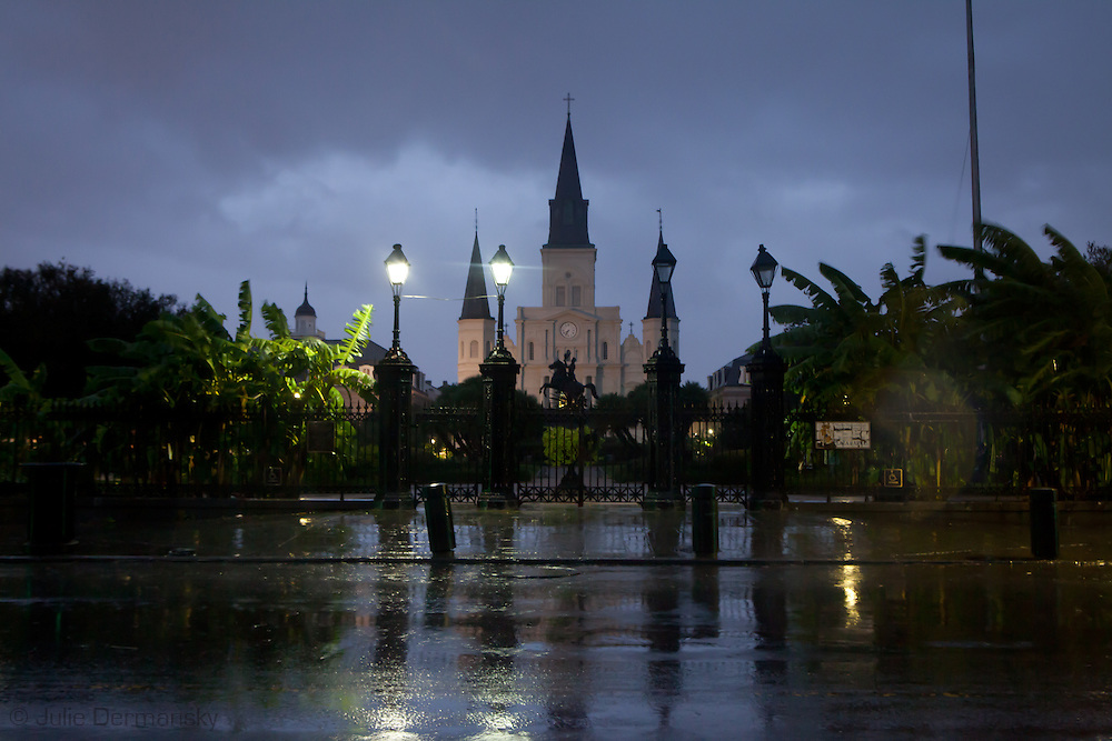 New Orleans August 28th, 2012, Rain falls on the St. Louis Cathedral as Hurricane Isaac makes landfall as at category 1 hurricane.