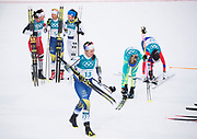 PYEONGCHANG-GUN, SOUTH KOREA - FEBRUARY 10: Anna Haag of Sweden leaves the finish area during the Ladies Cross Country Skiing 7.5km + 7.5km Skiathlon on day one of the PyeongChang 2018 Winter Olympic Games at Alpensia Cross-Country Centre on February 10, 2018 in Pyeongchang-gun, South Korea. Photo by Nils Petter Nilsson/Ombrello     <br /> ***BETALBILD***