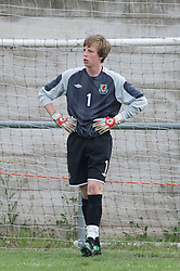 FLINT, WALES - Thursday, May 12, 2011: Wales' goalkeeper Alex Lynch looks dejected as Sweden score the second goal during the Men's Under-17's International Friendly match at Cae-y-Castell. (Photo by David Rawcliffe/Propaganda)