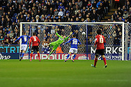 Cardiff city's keeper David Marshall saves a shot from Leicester's Jamie Vardy (9). NPower championship, Leicester city v Cardiff city at the King Power stadium in Leicester on Saturday 22nd Dec 2012. pic by Andrew Orchard, Andrew Orchard sports photography,
