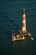 Restoration work on the Morris Island Lighthouse in Charleston, SC.