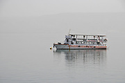 Tourist boat on the Sea of Galilee, Out of the Tiberias, Israel.