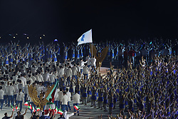 JAKARTA, Aug. 18, 2018  Delegation of the Democratic People's Republic of Korea (DPRK) and South Korea march under a unified flag of the Korean Peninsula during the opening ceremony of the 18th Asian Games at Gelora Bung Karno (GBK) Main Stadium in Jakarta, Indonesia, Aug. 18, 2018. (Credit Image: © Fei Maohua/Xinhua via ZUMA Wire)
