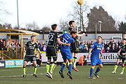 AFC Wimbledon striker Lyle Taylor (33) battles for possession in the box during the EFL Sky Bet League 1 match between AFC Wimbledon and Bristol Rovers at the Cherry Red Records Stadium, Kingston, England on 17 February 2018. Picture by Matthew Redman.