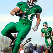 Kris Wilson/News Tribune.Blair Oaks running back Eli Roberts bowls into the end zone for the fourth quarter touchdown
