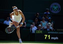 LONDON, ENGLAND - Thursday, July 3, 2014: Lucie Safarova (CZE) during the Ladies' Singles Semi-Final match on day ten of the Wimbledon Lawn Tennis Championships at the All England Lawn Tennis and Croquet Club. (Pic by David Rawcliffe/Propaganda)