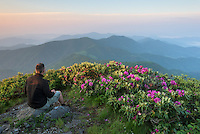 Self portrait of the photographer sitting atop Grassy Ridge Bald in the Roan Mountain Highlands of the Southern Appalachian Mountains.