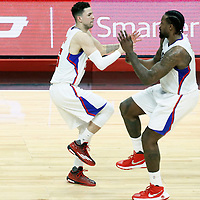 16 January 2017: LA Clippers guard Austin Rivers (25) celebrates with LA Clippers center DeAndre Jordan (6) during the LA Clippers 120-98 victory over the Orlando Magic, at the Staples Center, Los Angeles, California, USA.
