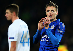 Jamie Vardy of Leicester City celebrates at full time - Mandatory by-line: Matt McNulty/JMP - 22/11/2016 - FOOTBALL - King Power Stadium - Leicester, England - Leicester City v Club Brugge - UEFA Champions League