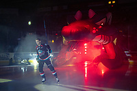 KELOWNA, CANADA - SEPTEMBER 22:  Braydyn Chizen #22 of the Kelowna Rockets enters the ice against the Kamloops Blazers on September 22, 2018 at Prospera Place in Kelowna, British Columbia, Canada.  (Photo by Marissa Baecker/Shoot the Breeze)  *** Local Caption ***