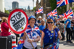 © Licensed to London News Pictures. 22/05/2019. London, UK. Anti-Brexit protesters gather outside Parliament. Ministers have requested a series of private meetings with Prime Minister Theresa May to discuss concerns about proposed changes to the Withdrawal Bill Agreement. Photo credit: Rob Pinney/LNP