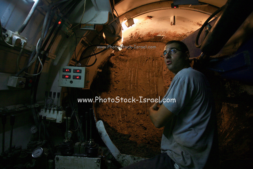 Israel, Natanya, Engineers are working underground, building a new set of sewage pipes. The huge tunnel passes under one of the busiest highways in Israel.