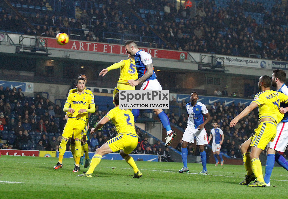 Shane Duffy heads towards goal during Blackburn Rovers v Nottingham Forest, SkyBet Championship, Monday 14th December 2015, Ewood Park, Blackburn