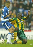 Photo Aidan Ellis, Digitalsport<br /> NORWAY ONLY<br /> <br /> Reading v West Bromwich Albion.<br /> Nationwide Divison 1.<br /> 01/05/2004.<br /> West Brom's Darren Moore tackles Reading's Dean Morgan