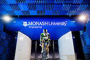 Australian cyclist Matthew Glaetzer conducts a wind test inside the Monash University Wind Tunnel Facility. Photo Asanka Brendon Ratnayake