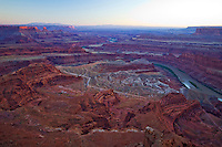 Changing colors through the canyons carved by the Colorado River at sunset, Dead Horse Point State Park, Utah