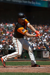 SAN FRANCISCO, CA - AUGUST 26: Nick Hundley #5 of the San Francisco Giants at bat against the Texas Rangers during the fourth inning at AT&T Park on August 26, 2018 in San Francisco, California. The San Francisco Giants defeated the Texas Rangers 3-1. All players across MLB will wear nicknames on their backs as well as colorful, non-traditional uniforms featuring alternate designs inspired by youth-league uniforms during Players Weekend. (Photo by Jason O. Watson/Getty Images) *** Local Caption *** Nick Hundley