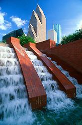 Stock photo of Wortham Center fountain in downtown Houston Texas
