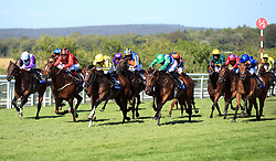 Pretty Baby ridden by jockey Dane O'Neill (third right) comes homes winning the L'Ormarins Queens Plate Oak Tree Stakes during day four of the Qatar Goodwood Festival at Goodwood Racecourse, Chichester.