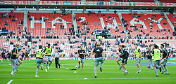 SUNDERLAND, ENGLAND - Saturday, August 16, 2008: Liverpool's players warm-up before the opening Premiership match of the season against Sunderland at the Stadium of Light. (Photo by David Rawcliffe/Propaganda)