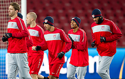 Carlos Bocanegra (C), Oguchi Onyewu (R) during training session of USA National team before FIFA World Cup 2010 soccer match against Slovenia at  Ellis Park Stadium on June 17, 2010 in Johannesburg, South Africa.  (Photo by Vid Ponikvar / Sportida)