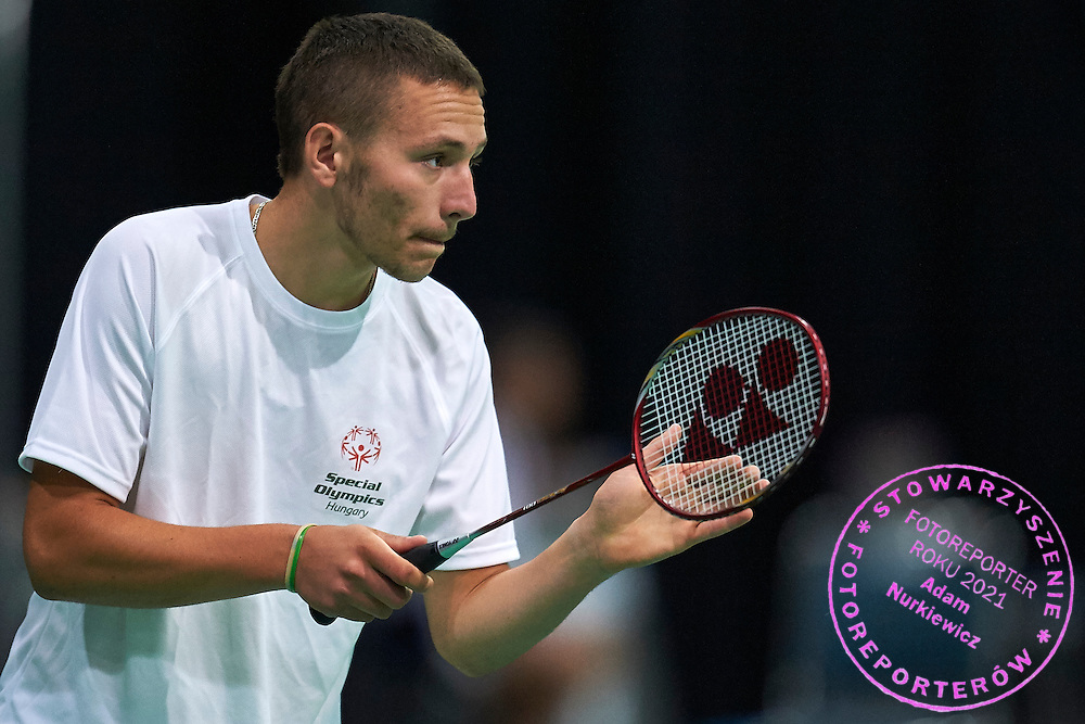 SO Hungary athlete Gergo Karoly plays badminton during third day of the Special Olympics World Games Los Angeles 2015 on July 27, 2015 at South Hall on Los Angeles Convention Centre in  Los Angeles, USA.<br /> USA, Los Angeles, July 27, 2015<br /> <br /> Picture also available in RAW (NEF) or TIFF format on special request.<br /> <br /> For editorial use only. Any commercial or promotional use requires permission.<br /> <br /> Adam Nurkiewicz declares that he has no rights to the image of people at the photographs of his authorship.<br /> <br /> Mandatory credit:<br /> Photo by &copy; Adam Nurkiewicz / Mediasport