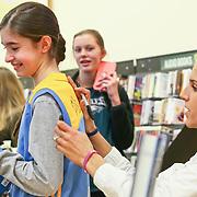 Elena Delle Donne autographs a fan replica jersey Saturday, March 10, 2018, at Barnes and Noble in Wilmington Delaware.