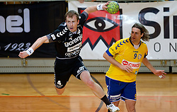 Fahrudin Melic of Velenje vs Dean Bombac of Koper during handball match between RK Cimos Koper and RK Gorenje Velenje of Slovenian Cup 2011/2012, on November 30, 2011 in Arena Bonifika, Koper, Slovenia. Cimos Koper defeated Gorenje Velenje 27-21 and qualified to quarterfinals. (Photo By Vid Ponikvar / Sportida.com)