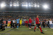 SYDNEY, AUSTRALIA - APRIL 13: Players enter the field at round 25 of the Hyundai A-League Soccer between Western Sydney Wanderers and Sydney FC  on April 13, 2019 at ANZ Stadium in Sydney, Australia. (Photo by Speed Media/Icon Sportswire)