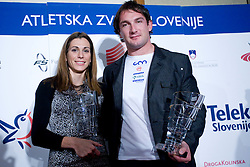 Marija Sestak and Primoz Kozmus, Best Slovenian athletes of the year at ceremony, on November 15, 2008 in Hotel Lev, Ljubljana, Slovenia. (Photo by Vid Ponikvar / Sportida)
