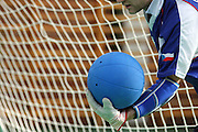 Goalball Spieler des tschechischen Teams Ivos Budil mit Sicht- und Augenschutz während dem internationalen Turnier in Budapest. Goalball ist eine Mannschaftssportart für blinde und sehbehinderte Menschen und wurde vom Österreicher Hans Lorenzen und dem deutschen Sepp Reindle für Kriegsinvalide entwickelt und zum ersten Mal 1946 gespielt. Die Bilder entstanden auf zwei internationalen Goalball Turnieren in Budapest und Zagreb 2007.<br /> <br /> Goalball player Ivos Budil from the Czech team with eye and sight protection during an international tournament in Budapest. Goalball is a team sport designed for blind and visually impaired athletes. It was devised by an Austrian, Hanz Lorenzen, and a German, Sepp Reindle, in 1946 in an effort to help in the rehabilitation of visually impaired World War II veterans. The International Blind Sports Federatgion (IBSA - www.ibsa.es), responsible for fifteen sports for the blind and partially sighted in total, is the governing body for this sport. The images were made during two Goalball tournaments in gBudapest and Zahreb 2007.