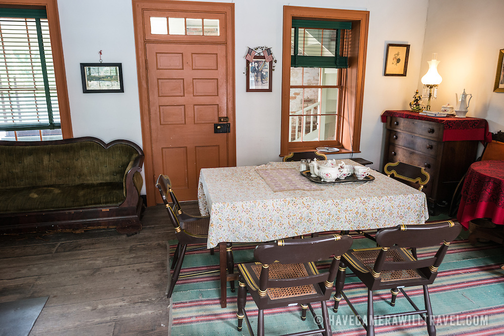 An historic house on High Street in Harpers Ferry, West Virginia, decorated in period items as a museum exhibit.