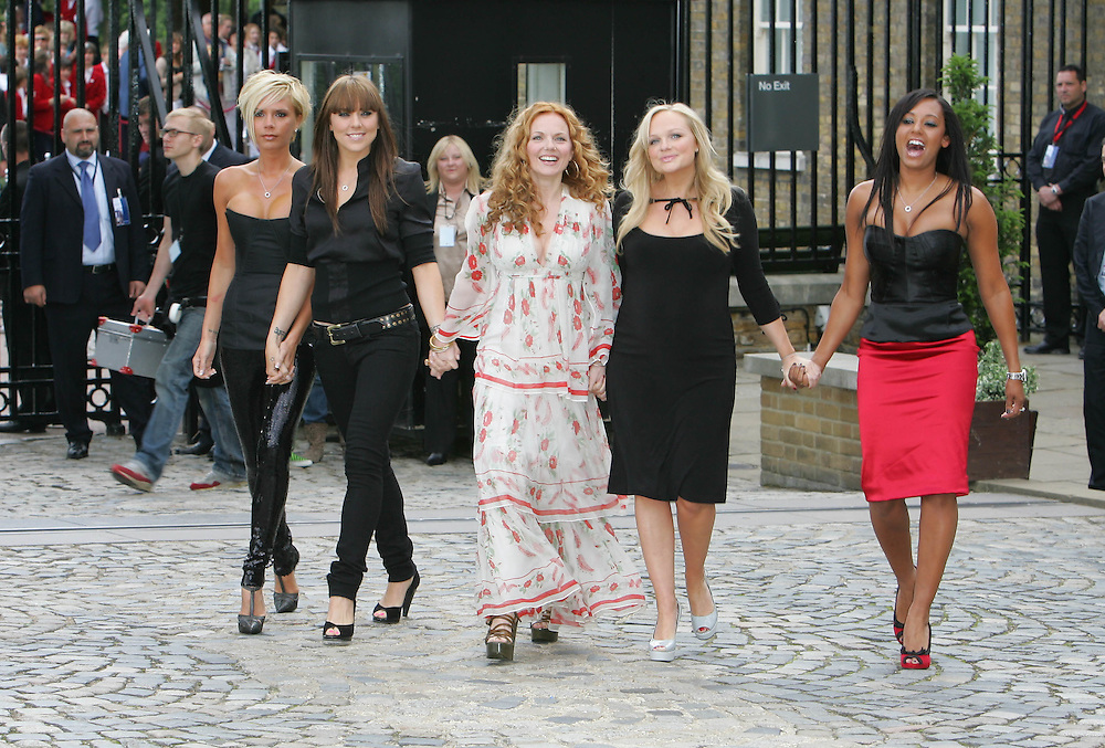 Spice Girls at the Royal Observatory in Greenwich to announce reunion and new world tour.
