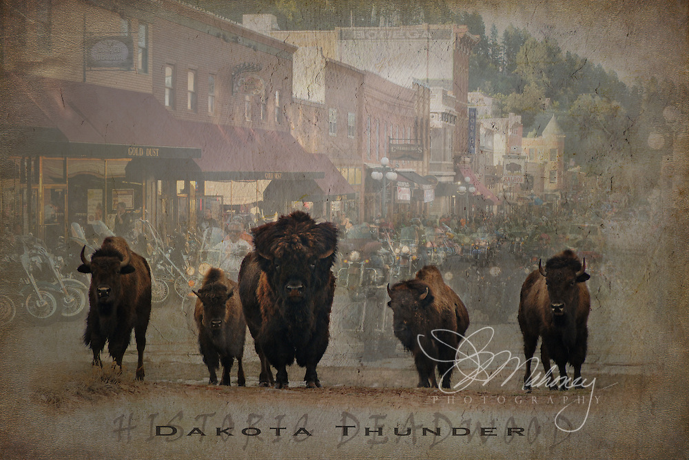 "In honor of South Dakota's 75th Annual Sturgis Motorcycle Rally, KJMahoney Photography offers limited edition canvas prints and stone slates of of ""Roughriders"" on main street of Historic Deadwood."