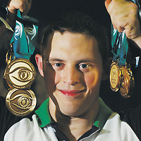 9 October 2007; William Loughnane, from Clooney-Quin, Co. Clare, who was competing in six disciplines, vault, pommel horse, rings, parallel bars, floor and high bar, and won a total of seven medals, six gold and one bronze in vault. 2007 Special Olympics World Summer Games, Shanghai International Gymnastics Centre, Shanghai, China. Picture credit: Ray McManus / SPORTSFILE