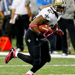 October 7, 2012; New Orleans, LA, USA; New Orleans Saints running back Pierre Thomas (23) against the San Diego Chargers during the second half of a game at the Mercedes-Benz Superdome. The Saints defeated the Chargers 31-24. Mandatory Credit: Derick E. Hingle-US PRESSWIRE