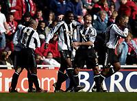 Photo: Jed Wee.<br /> Middlesbrough v Newcastle United. The Barclays Premiership. 09/04/2006.<br /> <br /> Newcastle's Alan Shearer (R) celebrates with goalscorer Shola Ameobi.