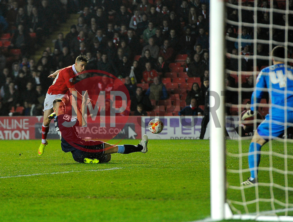 Bristol City's Joe Bryan sees his shot saved by Crewe Alexandra's Paul Rachubka  - Photo mandatory by-line: Joe Meredith/JMP - Mobile: 07966 386802 - 17/03/2015 - SPORT - Football - Bristol - Ashton Gate - Bristol City v Crewe Alexandra - Sky Bet League One