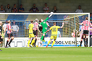 Dillon Phillips keeps CTFC in the game during the Vanarama National League match between Torquay United and Cheltenham Town at Plainmoor, Torquay, England on 29 August 2015. Photo by Antony Thompson.
