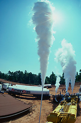 Stock photo of AmeriGas trucks parked at a CO2 fracking site in East Texas