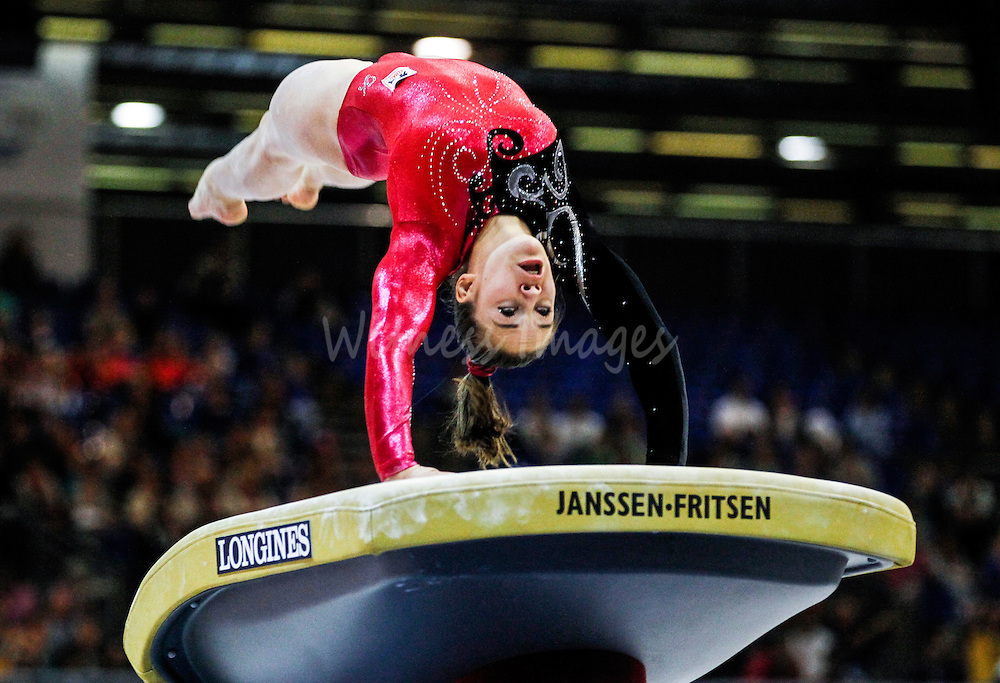 Belgian Terri Grand'Ry competes on vault during the team final seniors at the Women Artistic Gymnastics European Championships in Brussels, Belgium, 12 May 2012.
