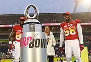 Jan 28, 2018; Orlando, FL, USA; AFC tight end Delanie Walker of the Tennessee Titans (82) is awarded the AFC offensive player of the game and AFC outside linebacker Von Miller of the Denver Broncos (58) is awarded defensive player of the game in the 2018 NFL Pro Bowl at Camping World Stadium. The AFC defeated the NFC 24-23. (Steve Jacobson/Image of Sport)