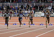 Feb 11, 2017; New York, NY, USA; Dezerea Bryant (USA), second from right, defeats Morolake Akinosun (USA), Tianna Bartoletta (USA) and Phylicia George (CAN) to win the women's 60m in 7.12 during the 110th Millrose Games at The Armory.