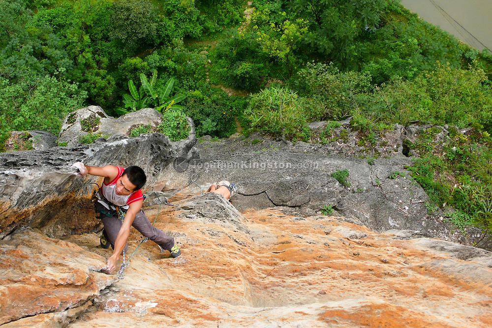 Rock climber, Yangshuo, China.