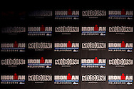 Ironman Melbourne Logo Background. Ironman Asia-Pacific Championship Melbourne. Official Launch. 2012 Ironman Triathlon World Championship. Encore Restaurant, St Kilda, Melbourne, Victoria, Australia. 17/02/2012. Photo By Lucas Wroe