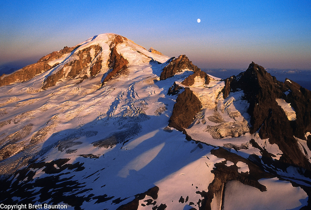 Mt. Baker; Aerial; Sunset; Moon