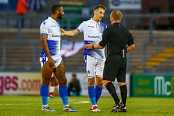 Tom Lockyer of Bristol Rovers talks to the referee with Stefan Payne of Bristol Rovers  - Mandatory by-line: Ryan Hiscott/JMP - 14/08/2018 - FOOTBALL - Memorial Stadium - Bristol, England - Bristol Rovers v Crawley Town - Carabao Cup
