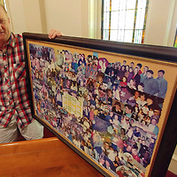 Chris Thomas, who served as student minister at Aberdeen First Baptist Church for the past 25 years, holds a collage of students from his first 10 years. He is onto his next calling now by serving as Baptist Student Union director at Meridian Community College.